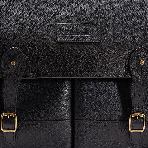 Buy Barbour Leather Briefcase, Black Online at johnlewis.com