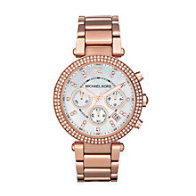 Buy Michael Kors MK5491 Women's Parker Chronograph Stainless Steel Bracelet Strap Watch, Rose Gold/White Online at johnlewis.com
