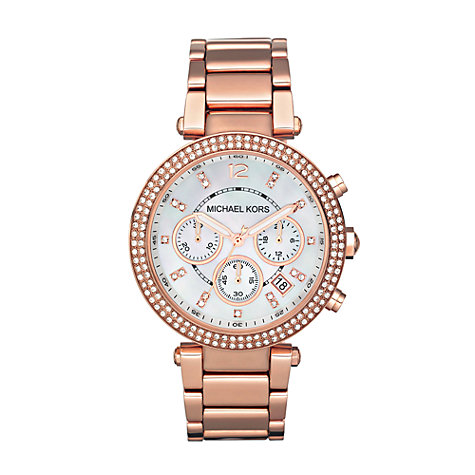 Buy Michael Kors MK5491 Women's Glitz Top Chronograph Stainless Steel Bracelet Watch, Rose Gold Online at johnlewis.com