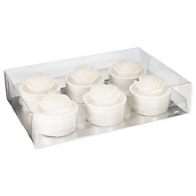 Buy John Lewis White Rose Tealights, Pack of 6 Online at johnlewis.com