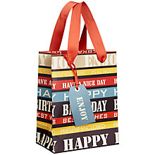 Buy John Lewis Happy Birthday Gift Bag, Multi, Mini Online at johnlewis.com