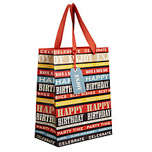 Buy John Lewis Happy Birthday Gift Bag, Small Online at johnlewis.com