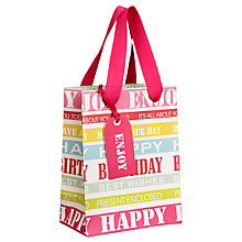 Buy John Lewis Happy Birthday Gift Bag, Pastel, Mini Online at johnlewis.com