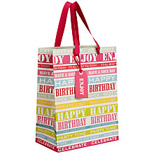 Buy John Lewis Birthday Stripe Gift Bag, Pastel, Small Online at johnlewis.com