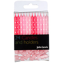 Buy John Lewis Cake Candles & Holders, Pink, Pack Of 24 Online at johnlewis.com