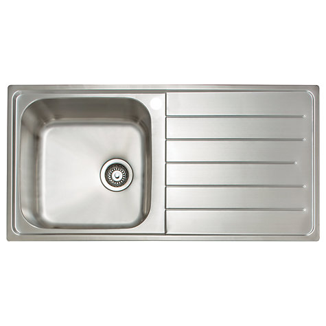 Buy John Lewis 1.0 Sink with Left Hand Bowl, Stainless Steel Online at ...