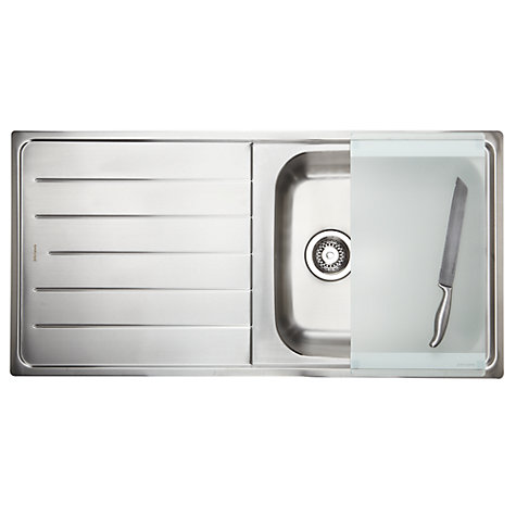 Buy John Lewis 1.0 Sink with Left Hand Bowl, Stainless Steel Online at johnlewis.com