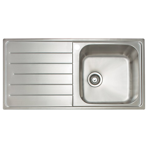 Buy John Lewis Lyon 100 Stainless Steel Inset Sink with Left Hand Drainer Online at johnlewis.com