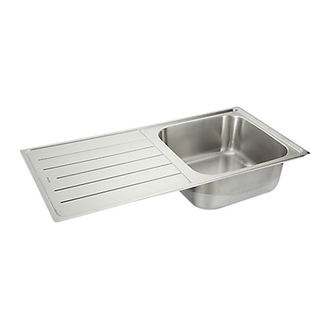Buy John Lewis Lyon 100 Stainless Steel Inset Sink with Right Hand Bowl, Stainless Steel Online at johnlewis.com