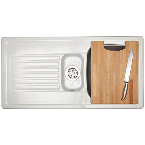 Buy John Lewis Ashford 150 1.5 Ceramic Sink with Right Hand Bowl, White Online at johnlewis.com