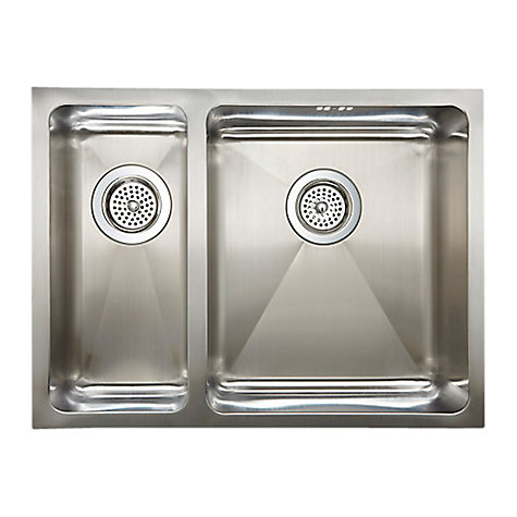 Buy John Lewis 1.5 Inset / Undermounted Sink with Left Hand Small Bowl, Stainless Steel Online at johnlewis.com
