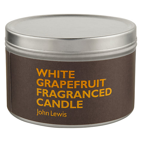Buy John Lewis White Grapefruit Scented Candle In A Tin Online at johnlewis.com