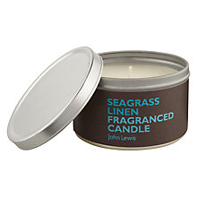 Buy John Lewis Seagrass Linen Scented Candle In A Tin Online at johnlewis.com