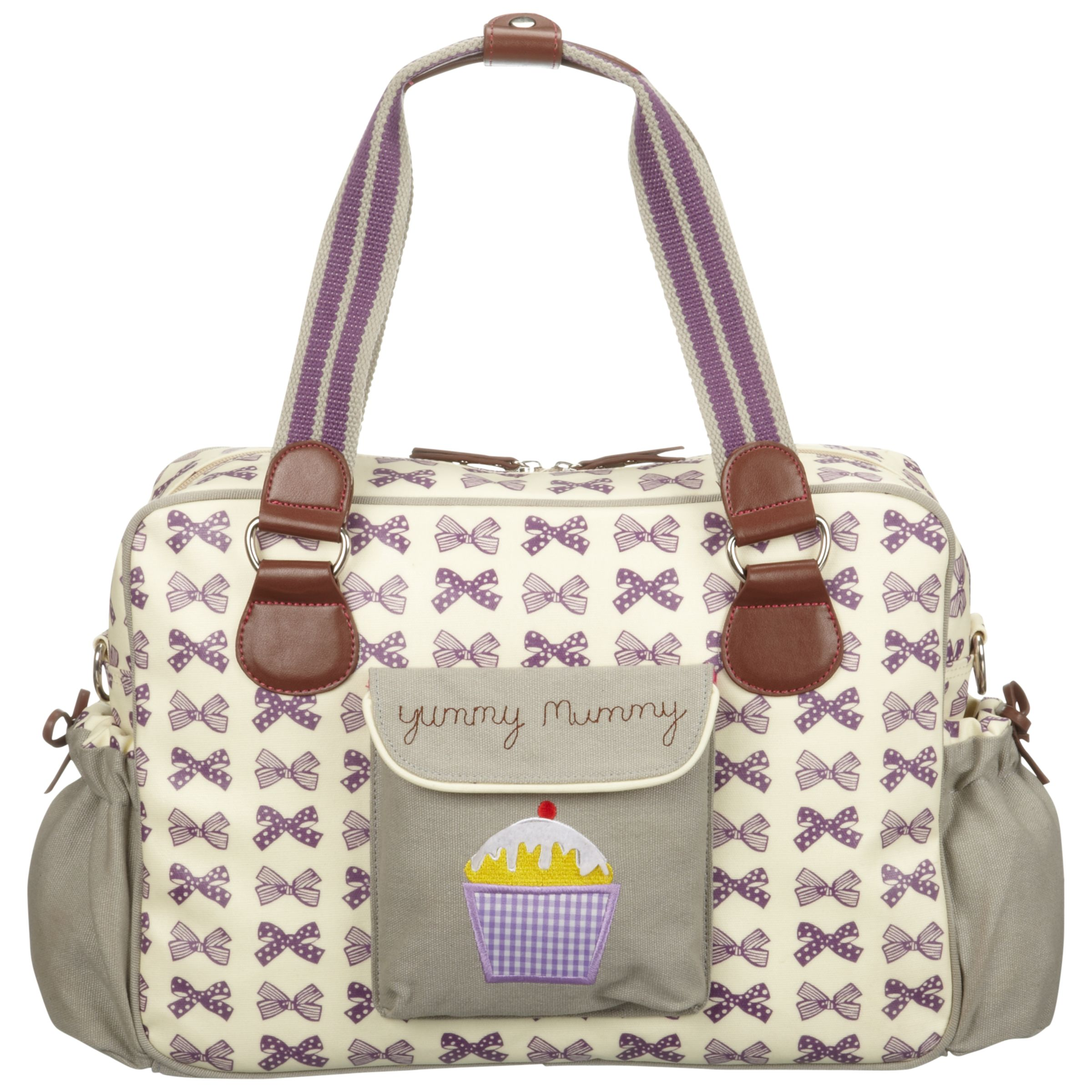 Pink Lining Yummy Mummy Bows Changing Bag Grape