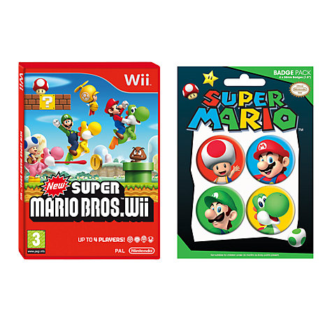 Buy New Super Maro Bros, Wii with 4 Mario Badges Online at johnlewis.com