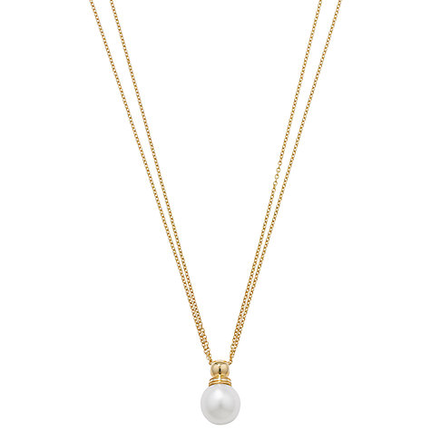 Buy London Road 9ct Yellow Gold Double Chain Pearl Pendant Necklace Online at johnlewis.com