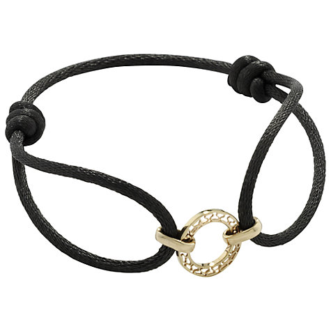 Buy London Road Carnaby 9ct Yellow Gold Disc & Silk Friendship Bracelet, Grey Online at johnlewis.com