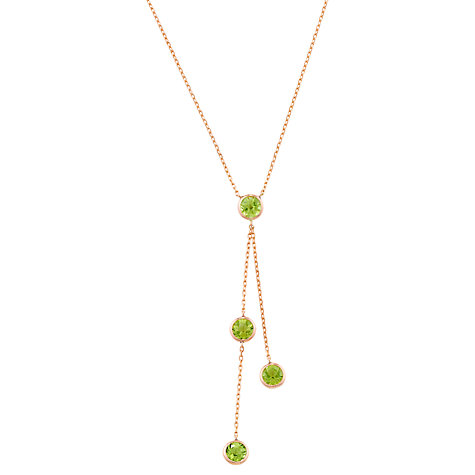 Buy London Road Pimlico Rain Drop Peridot 9ct Rose Gold Necklace, Green Online at johnlewis.com