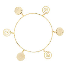 Buy Etrusca 18ct Gold Plated Bronze Hammered Disc Bracelet Online at johnlewis.com