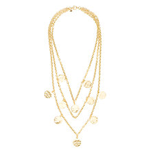 Buy Etrusca Multi Strand Hammered Gold Plated Bronxe Disc Necklace, Gold Online at johnlewis.com