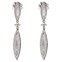 Buy 18ct White Gold Diamond Pointed Oval Long Drop Earrings Online at johnlewis.com