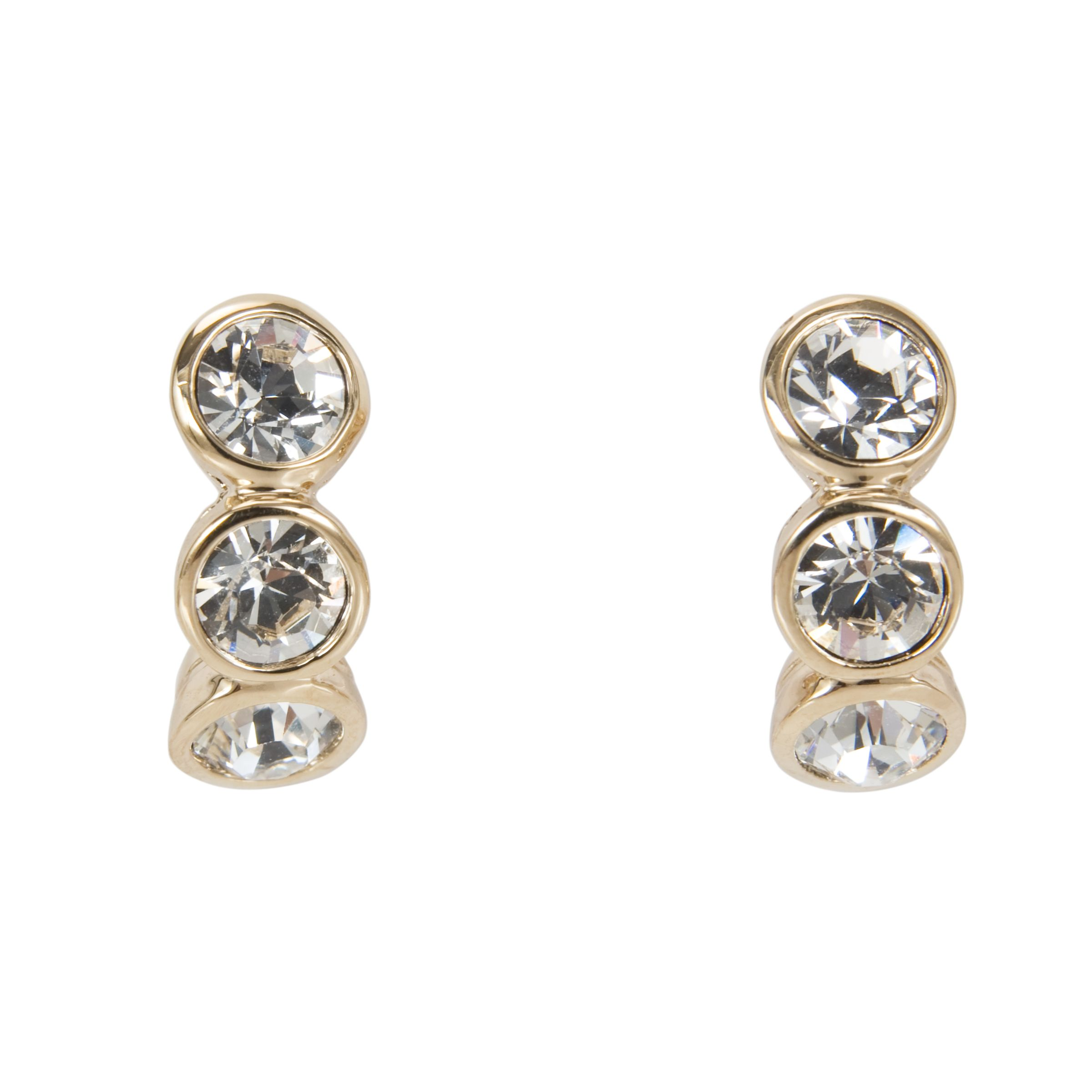 Cachet Mini Hoop Triple Stone Drop Earrings, Gold