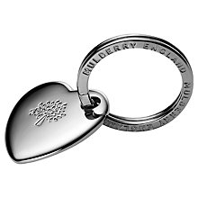 Buy Mulberry Metal Heart Keyring, Silver Online at johnlewis.com