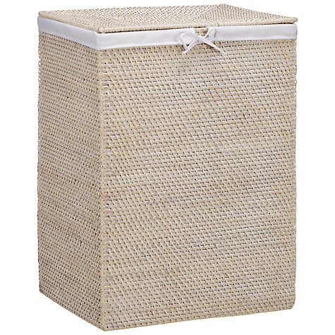 Buy John Lewis White Rattan Double Laundry Bin Online at johnlewis.com