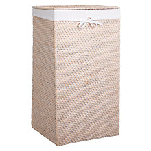 Buy John Lewis White Rattan Square Laundry Bin Online at johnlewis.com