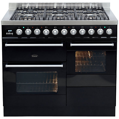 Buy Britannia SI-10XG6-E-K Dual Fuel Range Cooker, Gloss Black Online at johnlewis.com