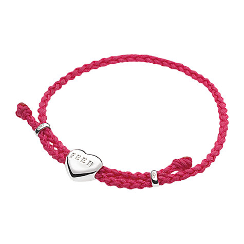 Buy Links of London FEED Silver Heart Fuchsia Cord Bracelet Online at johnlewis.com