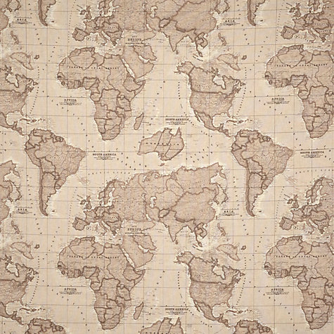 Buy John Lewis World Map Fabric, Mocha Online at johnlewis.com