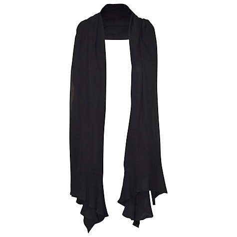 Buy Chesca Flounce Trim Crinkle Shawl, Black Online at johnlewis.com