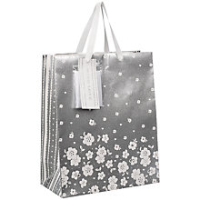 Buy John Lewis Silver Flower Gift Bag, Medium Online at johnlewis.com