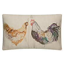 Buy Voyage Hen & Cockerel Cushion, Strathmorne Barley Online at johnlewis.com