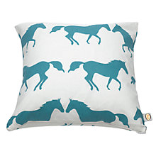 Buy Anorak Kissing Horses Cushion, Cream Online at johnlewis.com