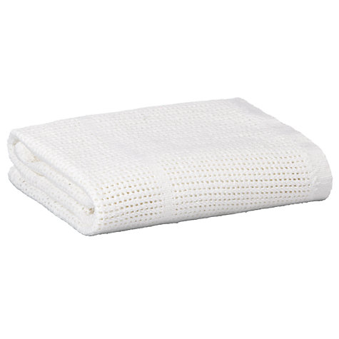 Buy John Lewis Baby Cellular Pram Blanket, Pack of 2, White Online at johnlewis.com