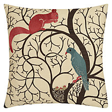 Buy Sanderson Squirrel And Dove Cushion, Blue / Red Online at johnlewis.com