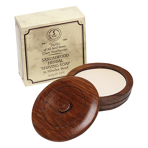 Buy Taylor of Old Bond Street Sandalwood Shaving Soap with Wooden Bowl, 100g Online at johnlewis.com