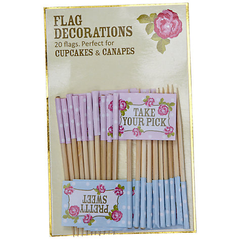 Buy Vintage Rose Cupcake Flag Decorations, Pack of 20 Online at johnlewis.com