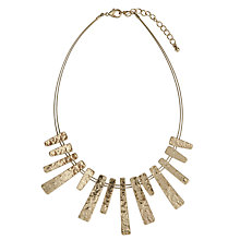Buy John Lewis Hammered Metal Wire Bars Short Necklace, Gold Online at johnlewis.com