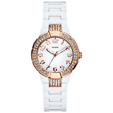 Buy Guess W12649l1 Miniprism Women's Round Diamante Dial White Polycarbonate Bracelet Watch Online at johnlewis.com