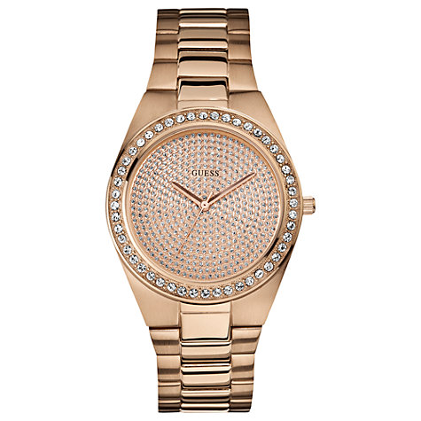Buy Guess W12651l1 Pixie Dust Women's Rose Gold Round Diamante Dial Bracelet Watch Online at johnlewis.com