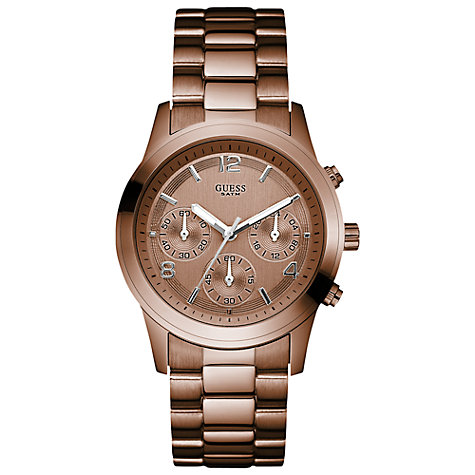 Buy Guess W17543l1 Women's Mini Spectrum Round Dial Chronograph Watch, Bronze Online at johnlewis.com