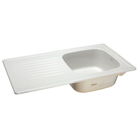 Buy John Lewis Ashford 100 Ceramic Sink with Right Hand Bowl, White Online at johnlewis.com