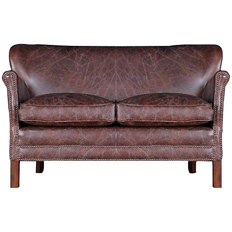 Buy Halo Little Professor Small Biker Tan Leather Sofa John Lewis