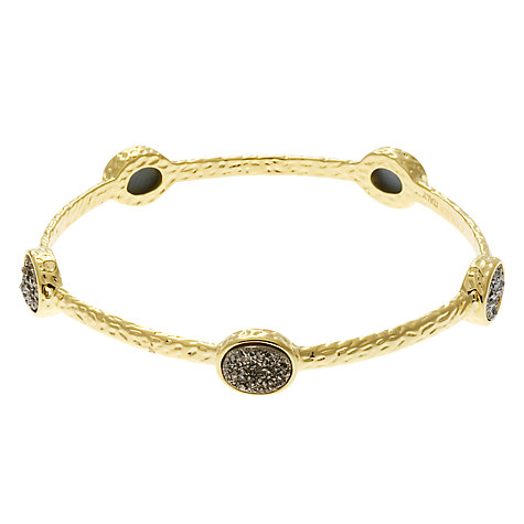 Buy Etrusca Silver Drusy Stone 18ct Hammered Gold Plated Bronze Bangle Online at johnlewis.com