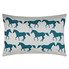 Buy Anorak Kissing Horses Standard Pillowcases, Pair, Jade / Cream Online at johnlewis.com