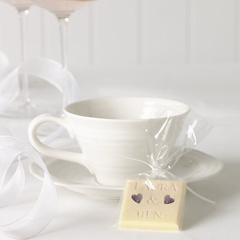 Buy Choc on Choc Personalised Silver Heart White Chocolate Favours, Pack of 50 Online at johnlewis.com