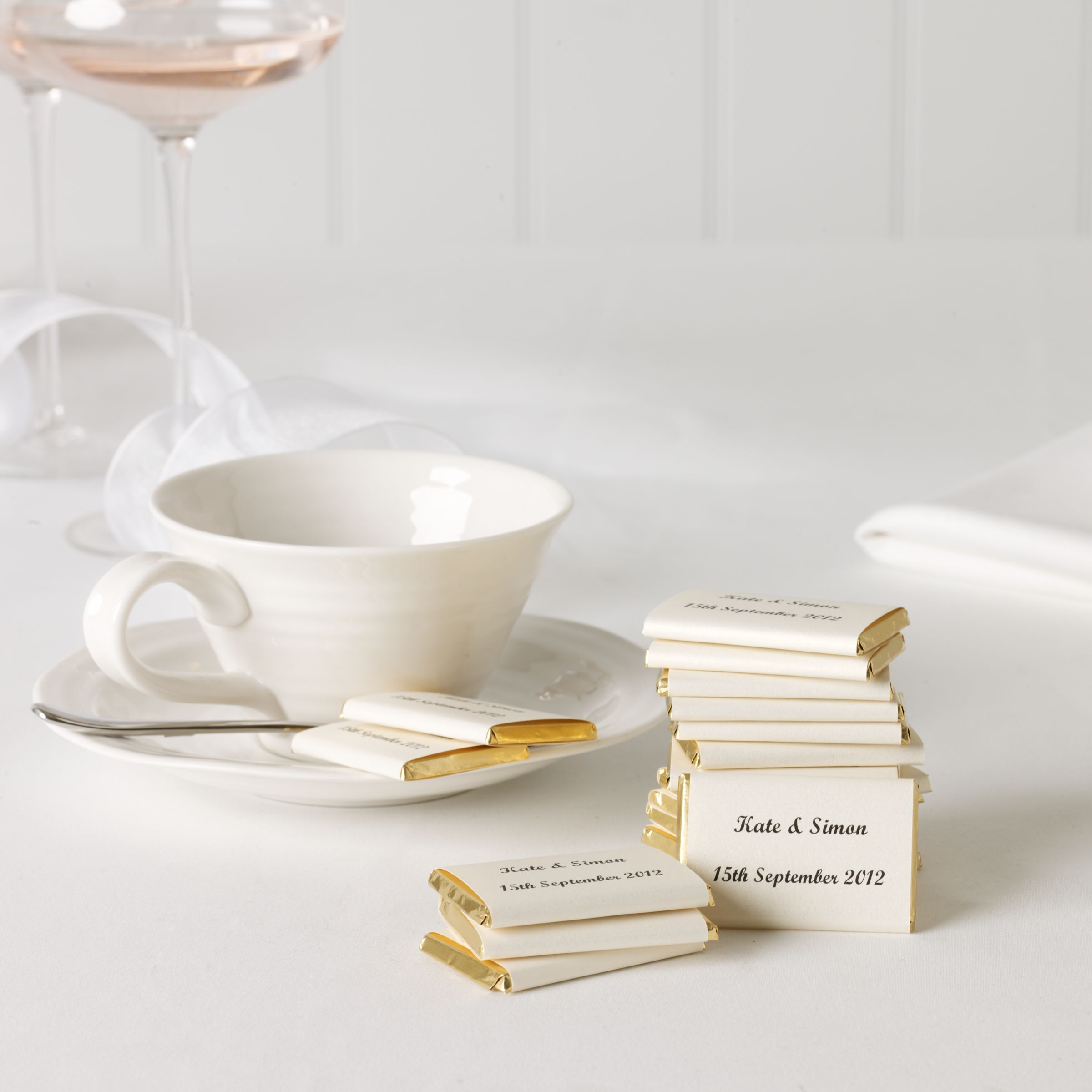 Fine Confectionery Company Personalised Nepolitan Foiled Milk Chocolates, Gold, Bag of 50, 500g